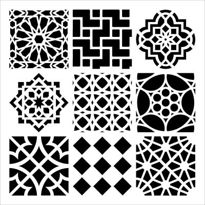 "12"" x 12""  Crafter's Workshop Painting Stencil Template ~ Moroccan Tiles"