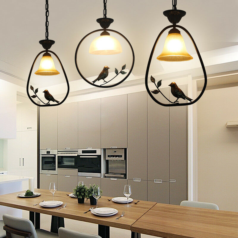 Details About Bird Pendant Light Gl Chandelier Bar Table Led Hanging Lamp Dining Room