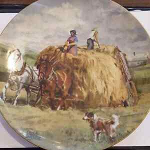 Christian Bell  Collector's Plate Atop Hay Wagon