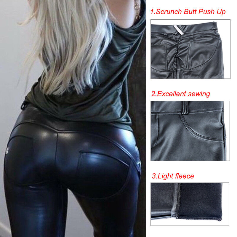 Sexy Women Leather Pants Heart Shaping Hip Push Up Stretch L