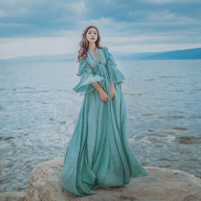 Fairy Medieval Maxi Dress Renaissance High Waist Prom Gown Princess Beach Casual