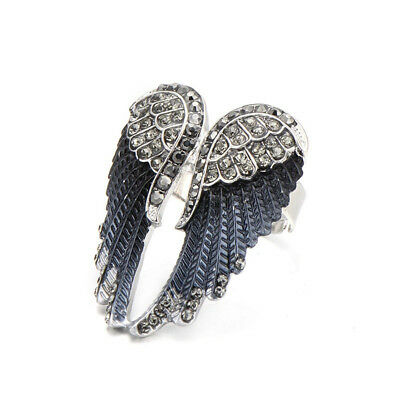 Angel Wings Ring Hot Punk Biker Rhinestone Women's Fashion Statement Ring Jewel - Hot Female Bikers