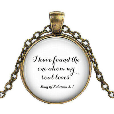 Song Of Solomon 3 (Bible Quote Pendant, Song Of Solomon 3:4 Necklace, bronze Pendant Chain)