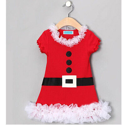 Xmas Santa Claus Costume Baby Kids Girls Princess Lace Belt Skirt Dress 2-7T - Santa Skirt Costume