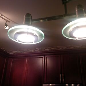 Multiple Brushed Stainless and Glass Light Fixtures Cambridge Kitchener Area image 6