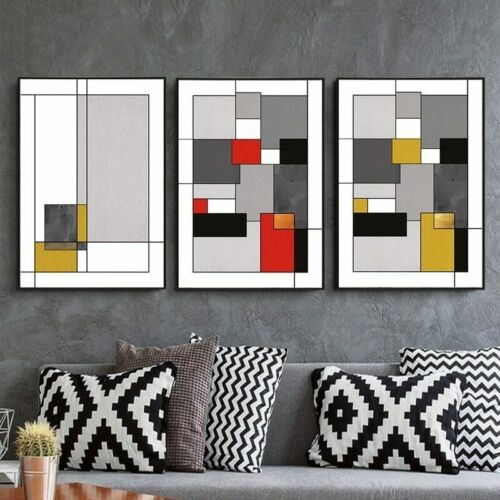 3+Piece+Canvas+Prints+-+Abstract+Red+and+Yellow+Wall+Art+Home+Decor+%28UNFRAMED%29