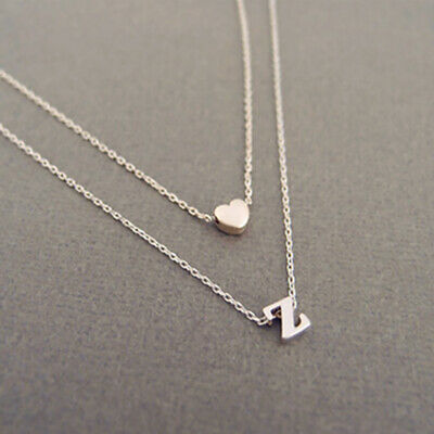 925Silver Gold Love Heart Women Initial 26 Letters Charm Choker Pendant Necklace ()