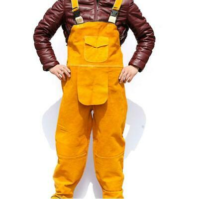 3xl Welder Welding Cowhide Overall Jumpsuit Fireproof Work Leather Uniform Hwi
