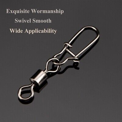 US 50pcs Stainless Steel Ball Bearing Fishing Swivels Snap Rolling Sea Connector