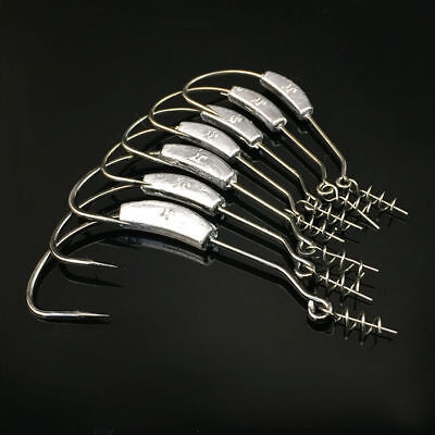 25pcs Weighted Offset Jig Hooks with Spring Twist Lock Soft Worm Pike 1/0-5/0# Weighted Twist Lock
