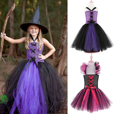 Kids Witch Halloween Costume (Halloween Cosplay Kids Witch Queen Girls Tulle Dress Party Tutu Clothing)