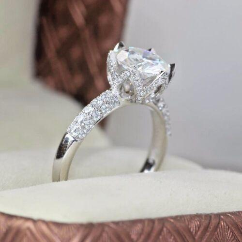 3 CT Round Cut D/VS2 Engagement Wedding Diamond Ring 14k White Gold Enhanced