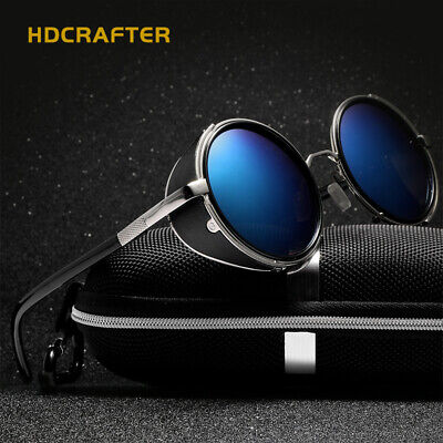 HDCRAFTER Vintage Steampunk Polarized Sunglasses Round Retro Pilot Blue Eyewears