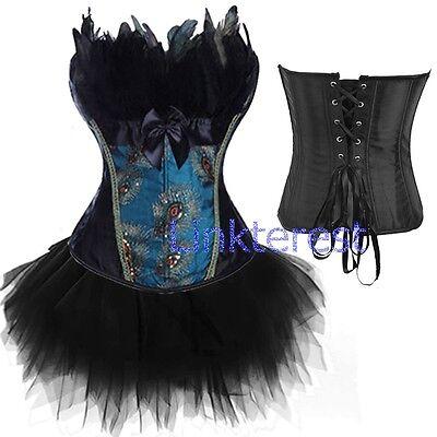 Corset Tutu Dress (Sexy Black Peacock Feather Corset Tops LACE UP Basques Steampunk Dress W/TuTu)