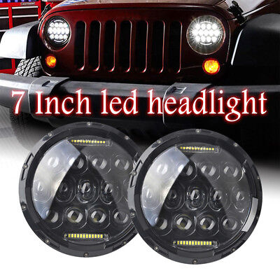 2PC 7 inch Round LED Headlight Hi/Lo Fit 1997-2017 Jeep Wrangler CJ TJ JK Harley