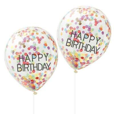 Bunte Luftballons Happy Birthday mit Konfetti Geburtstags-Dekoration - 10 Stück