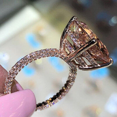 (Gorgeous Women Wedding Ring White Sapphire Rose Gold Filled Ring Size 6-10)