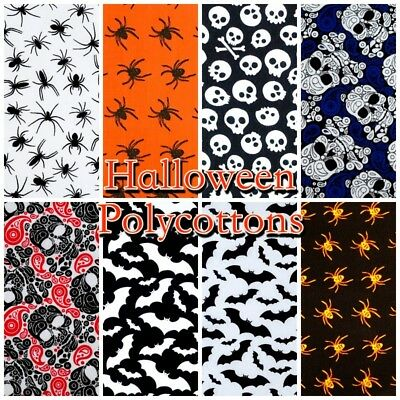 HALLOWEEN Scary Spooky Spider Craft Poly/Cotton Dress Fabric (Per Metre)