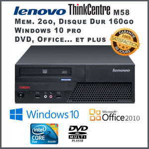 Ordinateur/Computer Lenovo M58 Core 2 Duo 2.66GHz - WIN10 Office