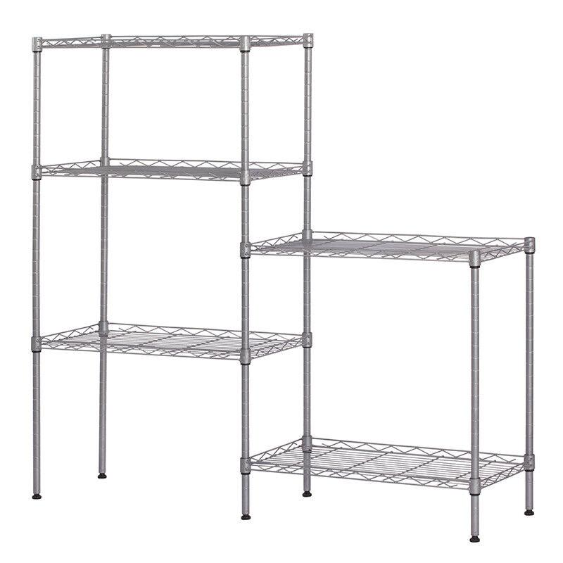 "60""x22""x12"" Heavy Duty 5Layer Wire Shelving Rack Adjustable Shelf Storage Silver"