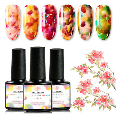 Polish Decorations (7 ML Ink Marble Blooming Gel Nail Gradient Smudge Polish Blossom Varnish)