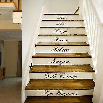 Home Stairs Wall Art DIY Quote Removable Stickers Vinyl Decals Decor US STOCK