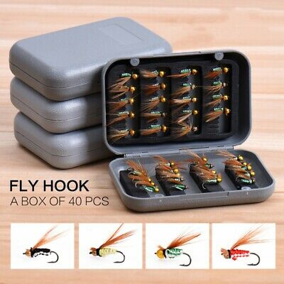 40 Pcs/set Caddis Fly Patterns Fly Fishing Lures Dry Flies Trout Hooks with Box
