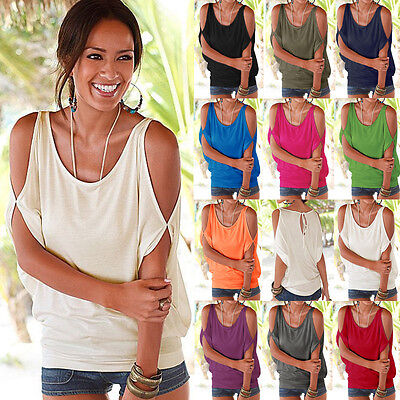 Womens Summer Cold Shoulder Loose Casual Short Sleeve Tops Blouse Shirt Top UK