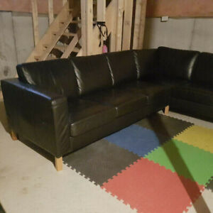 For Sale: Black 100% Real Leather Sectional Sofa