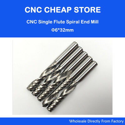 5 Pcs Carbide Endmill Milling Tool Single Flute Spiral Cnc Router Bits 6mm 32mm