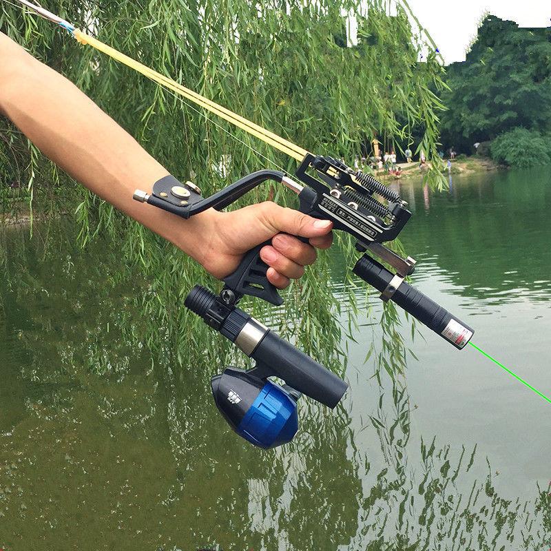 Professional Slingshot Fishing gun high-precision green laser arrows steel ball