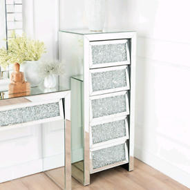 Mirrored chest of 5 tall drawers