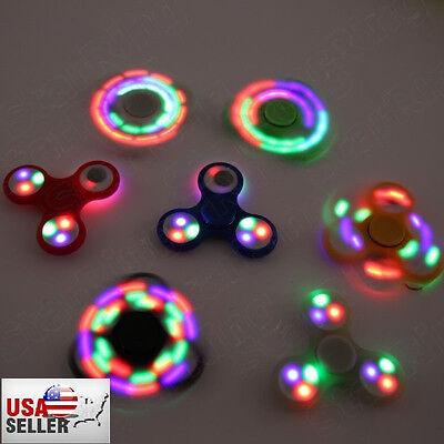 NEW! WHOLESALE LED Various Color Rainbow Tri-Spinner Fidget Toy EDC Hand Finger