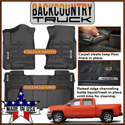 BackCountryTruck 2014-2018 Chevy Silverado Crew Cab Front & Rear Seat Floor (Black Front Seat Floor)