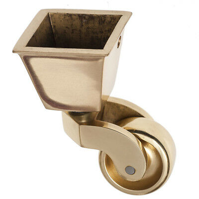 x4  ANTIQUE BRASS CASTORS 32mm WHEEL SQUARE CUP
