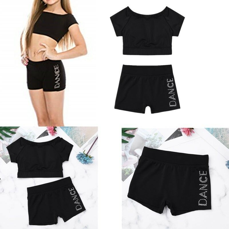 4682b29ee5bd Details about 2PCS Kids Girls Tankini Dance Outfits Ballet Sports Gym Crop  Tops+Bottoms Shorts