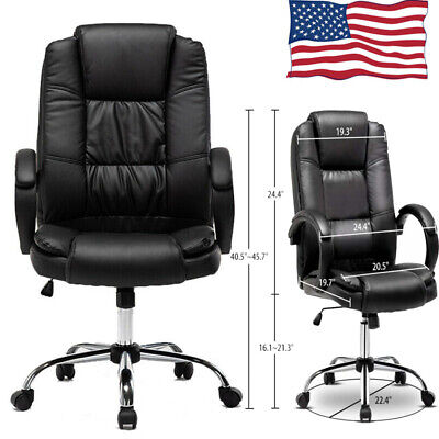 Pu Leather High Back Office Chair Executive Ergonomic Computer Desk Seat Swivel