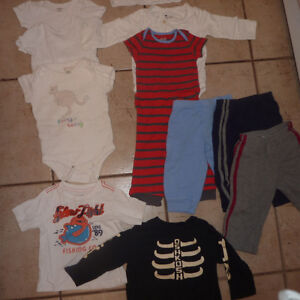 5 onsies, 4 pants, 2 shirts, size 6 - 12m Kitchener / Waterloo Kitchener Area image 1