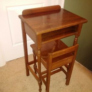 Vintage Hand Made Telephone Table with Chair
