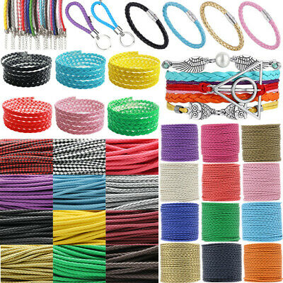 Artificia Leather Braid Rope Hemp Cord Jewelry Making Cord Wire 3,4,5,7mm 5Meter