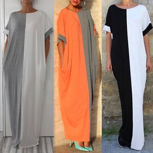 Vestido-Largo-Talla-Grande-Mujer-Solido-Manga-Corta-extragrande-Holgado