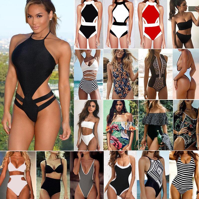 Womens One-Piece Bandage Bikini Push Up Monokini Swimsuit Ba