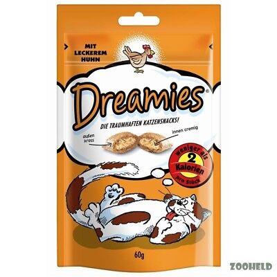 6x60g Dreamies Snack mit Huhn Katzensnack Knuspersnack mit Füllung kalorienarm