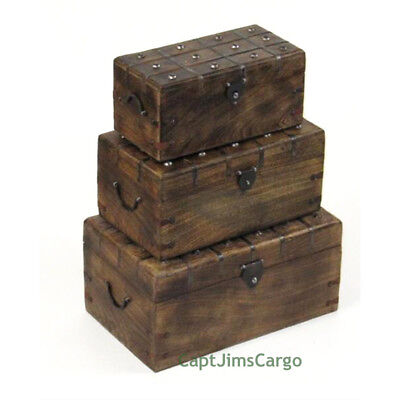 """Pirate Treasure Chest 17"""" Nested Boxes Set of 3 Wooden Trunks Nautical Decor New"""
