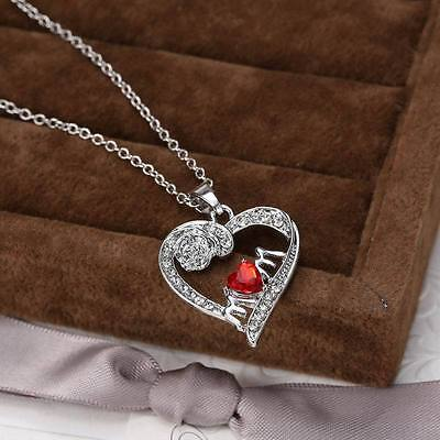 Women Red Heart Mom Pendant Necklace Silver Rose Crystal Love Jewelry Charm Gift