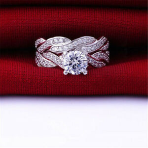 Sets Swarovski Gold Diamond Wedding Bridal Engagement Rings