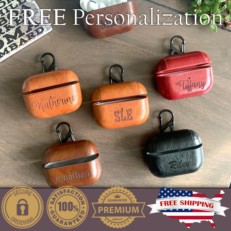 CUSTOM Leather Personalized Case Keychain For Apple Airpod PRO Man Woman Gift - $44.99