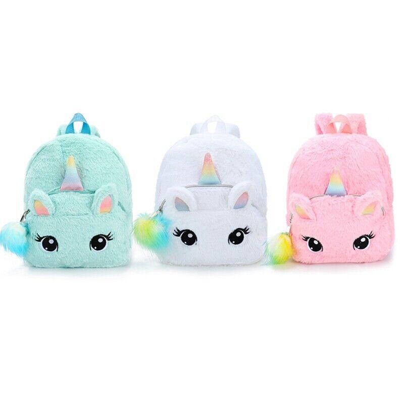 Kids Girls Fluffy Unicorn Backpack Plush School Rucksack Zip