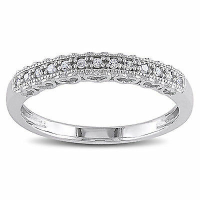10k White Gold 1/10 ct Diamond Vintage Stackable Heart Wedding Band Ring (Vintage Wedding Ring White Gold)