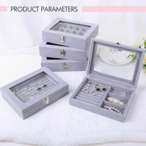 Jewellery - Jewellery Display Box Earring Ring Tray Storage Case Organizer Velvet Holder UK